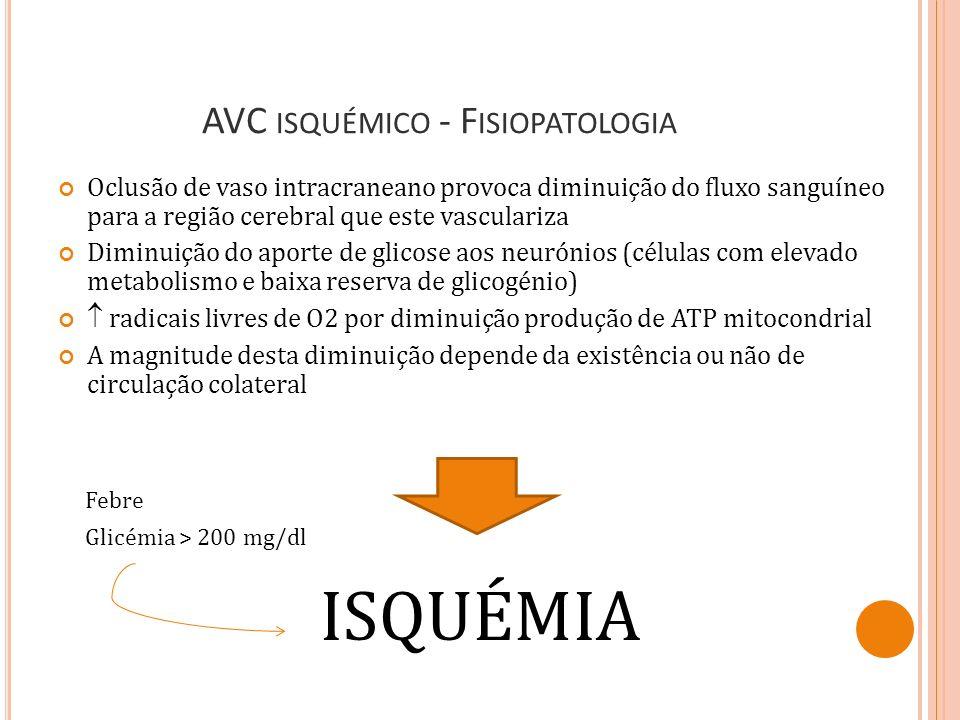 AVC ISQUÉMICO VS AIT Ambos são: Episódios de disfunção neurológica focal de presumível etiologia vascular isquémica Início súbito (abrupto) de sinais neurológicos com défice máximo após segundos ou minutos AIT: Duração dos sintomas < 24 horas (geralmente < 1 hora); Sem evidência de enfarte isquémico agudo (exames imagem) AVC isquémico: Défice neurológico persistente (duração dos sintomas > 24 horas ou provocando a morte) Evidência de enfarte isquémico agudo AVC isquémico minor: Défice neurológico persistente não incapacitante