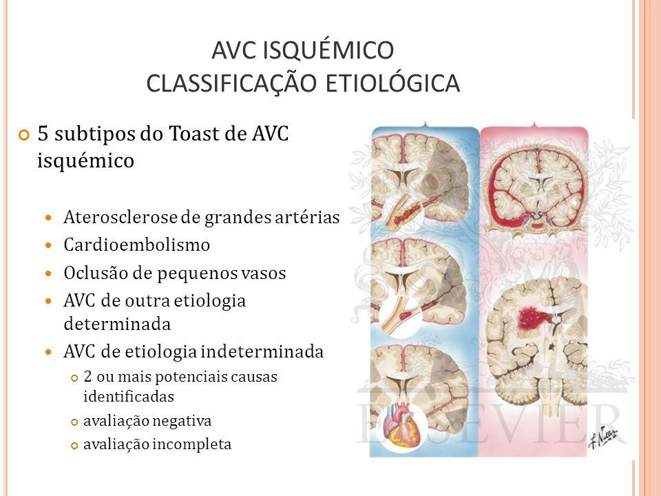 E XAMES Neuroimagem Tomografia computorizada (TC) craniana sem contraste Tipicamente o 1º exame diagnóstico realizado em doentes com suspeita de AVC AVC isquémico, hemorragia intracerebral e HSA Mais sensível no diagnóstico de hemorragias focais agudas Deve ser realizada em todos os doentes com suspeita de AVC antes do início do tratamento específico Muito acessível, aquisição rápida de resultados Ressonância magnética (RM), técnicas de difusão e perfusão RM mais sensível no diagnóstico de enfarte Úteis na identificação da quantidade de área enfartada e tecido cerebral em risco