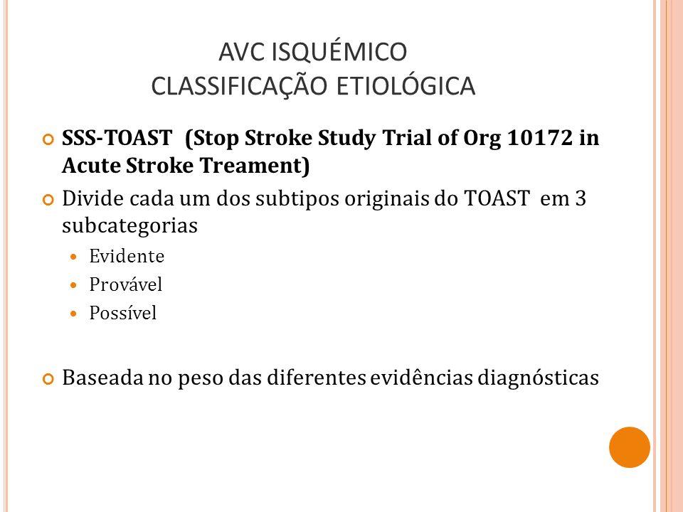 AVC ISQUÉMICO CLASSIFICAÇÃO ETIOLÓGICA SSS-TOAST (Stop Stroke Study Trial of Org 10172 in Acute Stroke Treament) Divide cada um dos subtipos originais