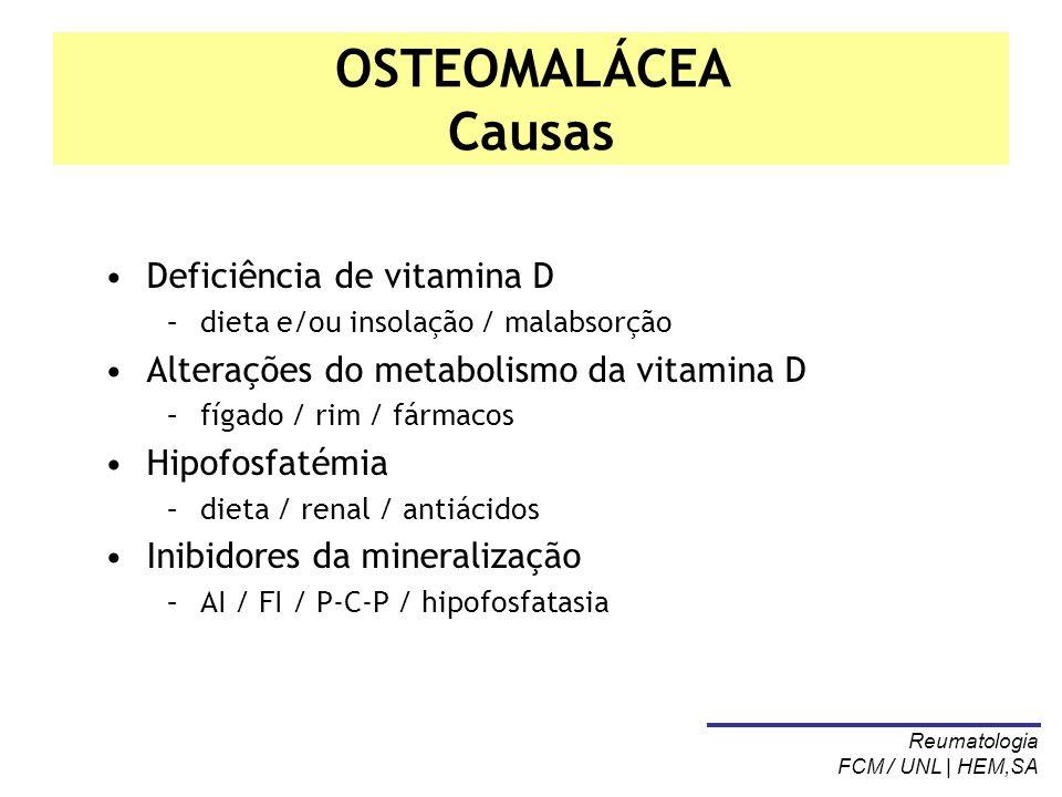 OSTEOMALÁCEA Causas Deficiência de vitamina D –dieta e/ou insolação / malabsorção Alterações do metabolismo da vitamina D –fígado / rim / fármacos Hip