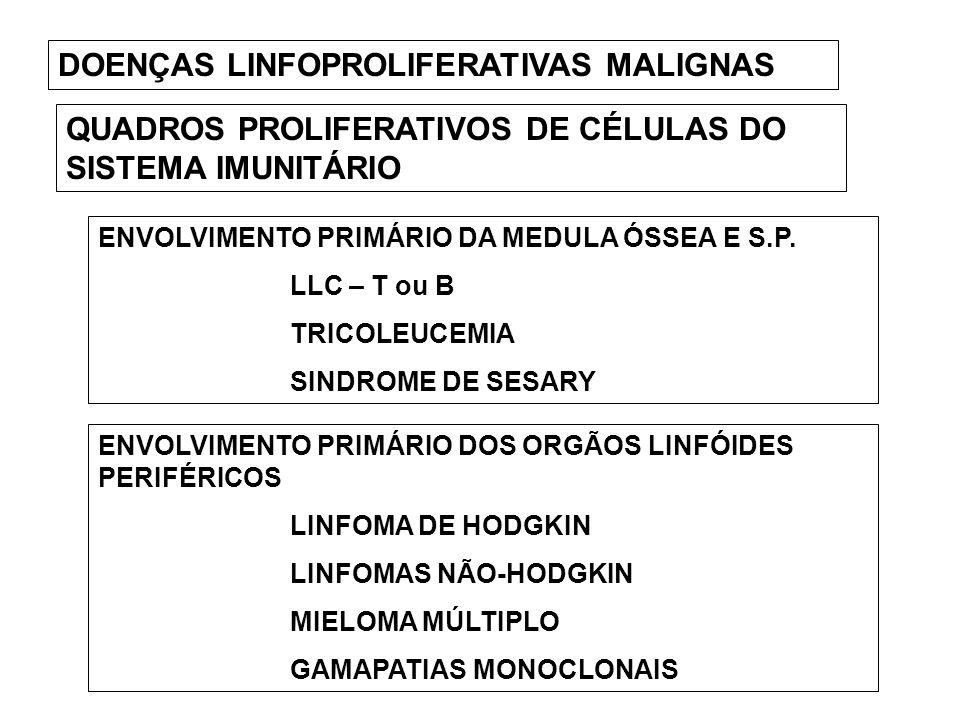 DOENÇAS LINFOPROLIFERATIVAS MALIGNAS QUADROS PROLIFERATIVOS DE CÉLULAS DO SISTEMA IMUNITÁRIO ENVOLVIMENTO PRIMÁRIO DA MEDULA ÓSSEA E S.P. LLC – T ou B