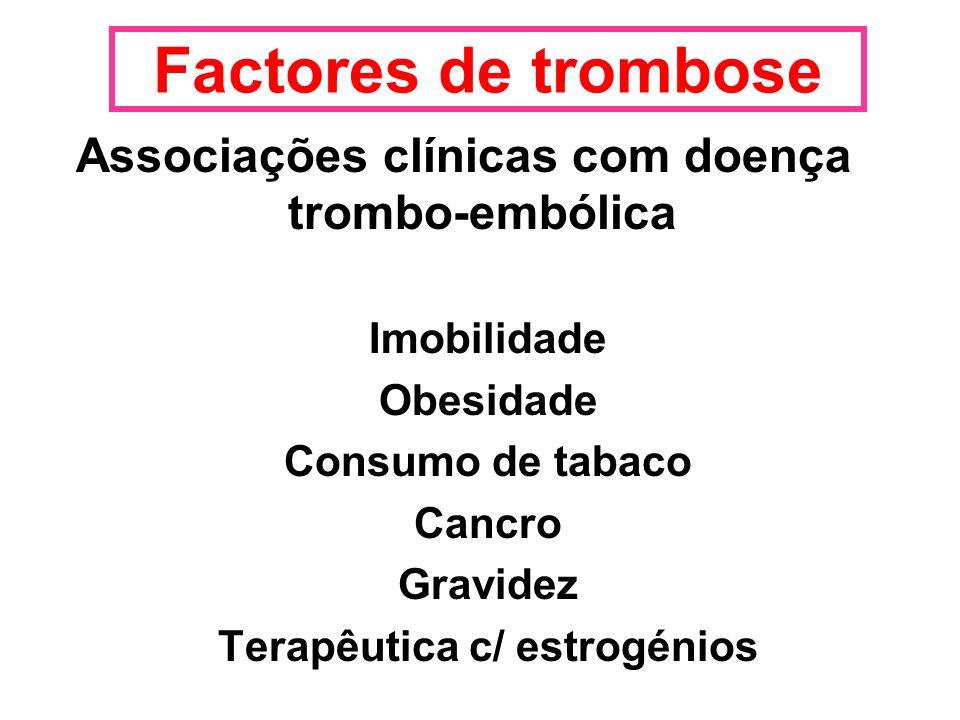 Factores de trombose Associações clínicas com doença trombo-embólica Imobilidade Obesidade Consumo de tabaco Cancro Gravidez Terapêutica c/ estrogénio
