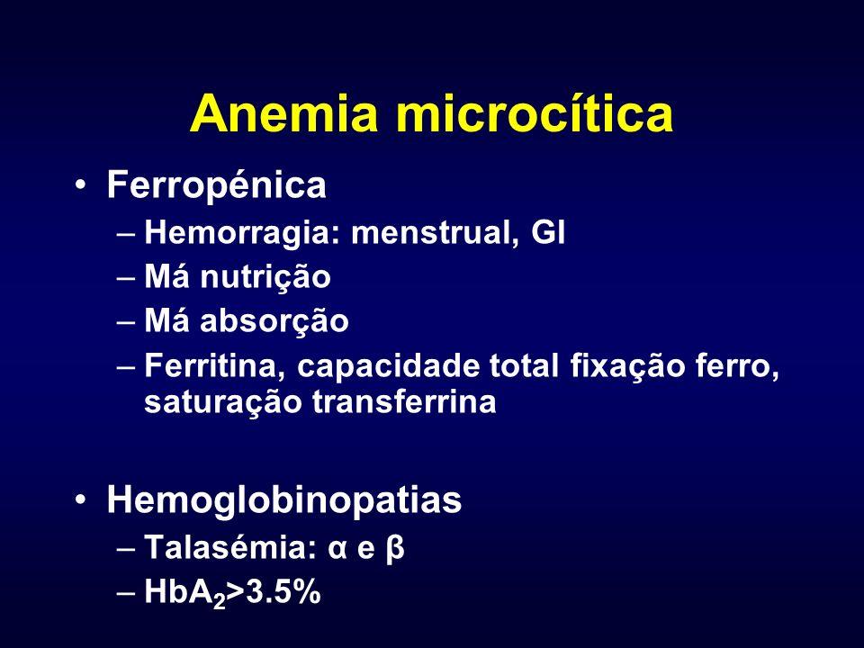 Anemia microcítica Ferropénica –Hemorragia: menstrual, GI –Má nutrição –Má absorção –Ferritina, capacidade total fixação ferro, saturação transferrina Hemoglobinopatias –Talasémia: α e β –HbA 2 >3.5%