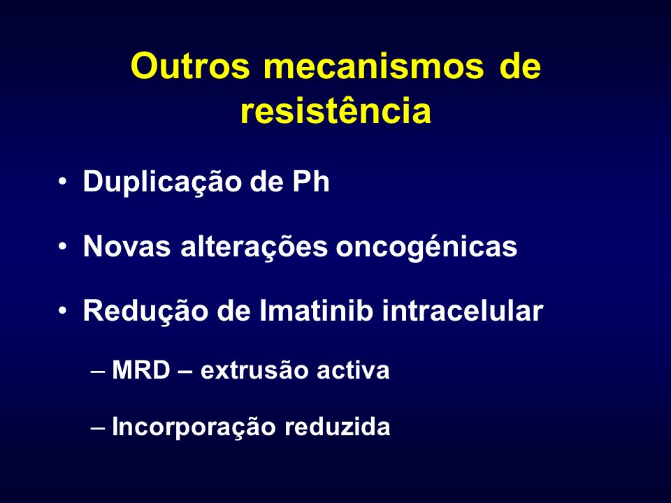 Outros mecanismos de resistência Duplicação de Ph Novas alterações oncogénicas Redução de Imatinib intracelular –MRD – extrusão activa –Incorporação reduzida