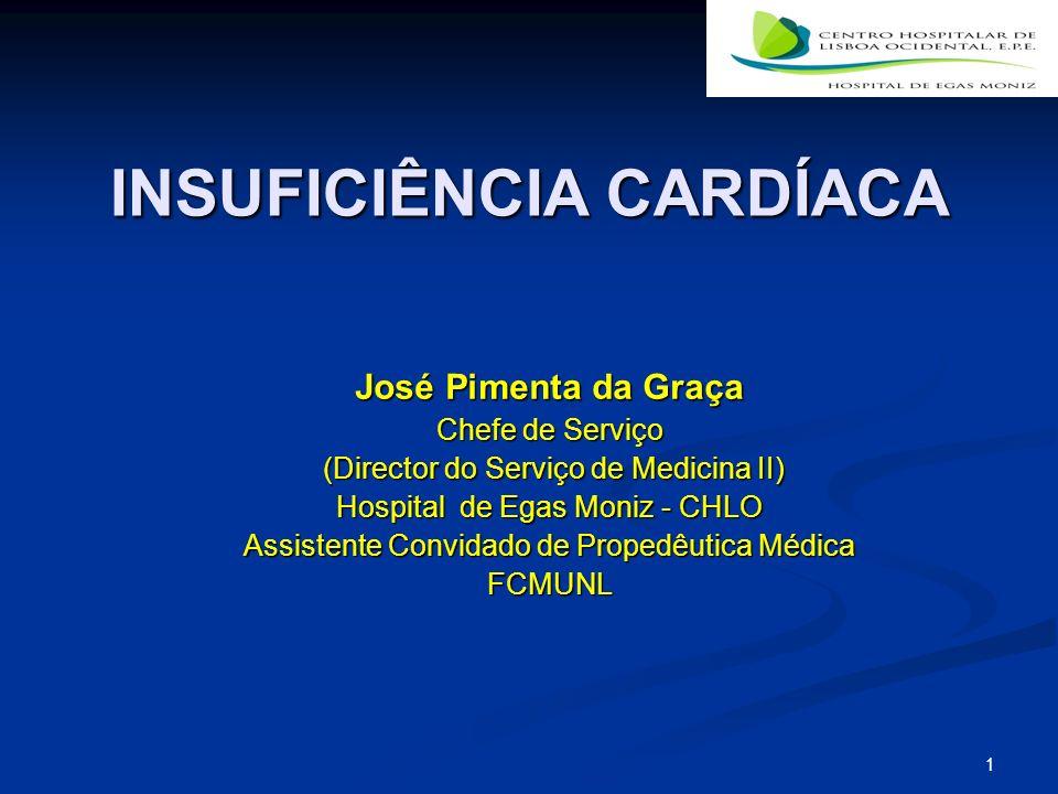 1 INSUFICIÊNCIA CARDÍACA José Pimenta da Graça Chefe de Serviço (Director do Serviço de Medicina II) (Director do Serviço de Medicina II) Hospital de Egas Moniz - CHLO Assistente Convidado de Propedêutica Médica FCMUNL