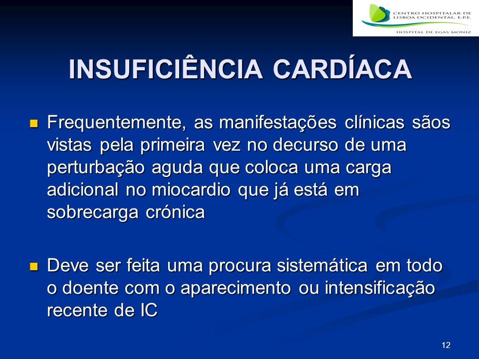 12 INSUFICIÊNCIA CARDÍACA Frequentemente, as manifestações clínicas sãos vistas pela primeira vez no decurso de uma perturbação aguda que coloca uma c