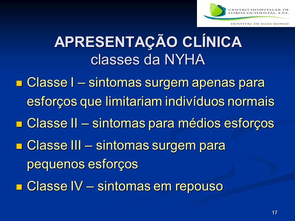 17 APRESENTAÇÃO CLÍNICA classes da NYHA Classe I – sintomas surgem apenas para esforços que limitariam indivíduos normais Classe I – sintomas surgem a