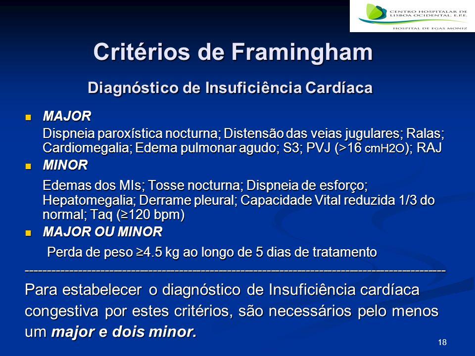 18 Critérios de Framingham Diagnóstico de Insuficiência Cardíaca Critérios de Framingham Diagnóstico de Insuficiência Cardíaca MAJOR MAJOR Dispneia paroxística nocturna; Distensão das veias jugulares; Ralas; Cardiomegalia; Edema pulmonar agudo; S3; PVJ (>16 cmH2O ); RAJ MINOR MINOR Edemas dos MIs; Tosse nocturna; Dispneia de esforço; Hepatomegalia; Derrame pleural; Capacidade Vital reduzida 1/3 do normal; Taq (120 bpm) Edemas dos MIs; Tosse nocturna; Dispneia de esforço; Hepatomegalia; Derrame pleural; Capacidade Vital reduzida 1/3 do normal; Taq (120 bpm) MAJOR OU MINOR MAJOR OU MINOR Perda de peso 4.5 kg ao longo de 5 dias de tratamento Perda de peso 4.5 kg ao longo de 5 dias de tratamento------------------------------------------------------------------------------------------------ Para estabelecer o diagnóstico de Insuficiência cardíaca congestiva por estes critérios, são necessários pelo menos um major e dois minor.