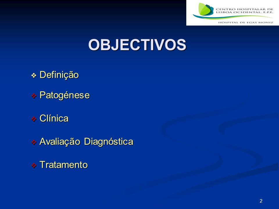 2 OBJECTIVOS Definição Definição Patogénese Patogénese Clínica Clínica Avaliação Diagnóstica Avaliação Diagnóstica Tratamento Tratamento