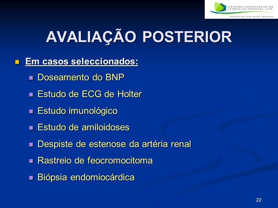22 AVALIAÇÃO POSTERIOR Em casos seleccionados: Em casos seleccionados: Doseamento do BNP Doseamento do BNP Estudo de ECG de Holter Estudo de ECG de Ho