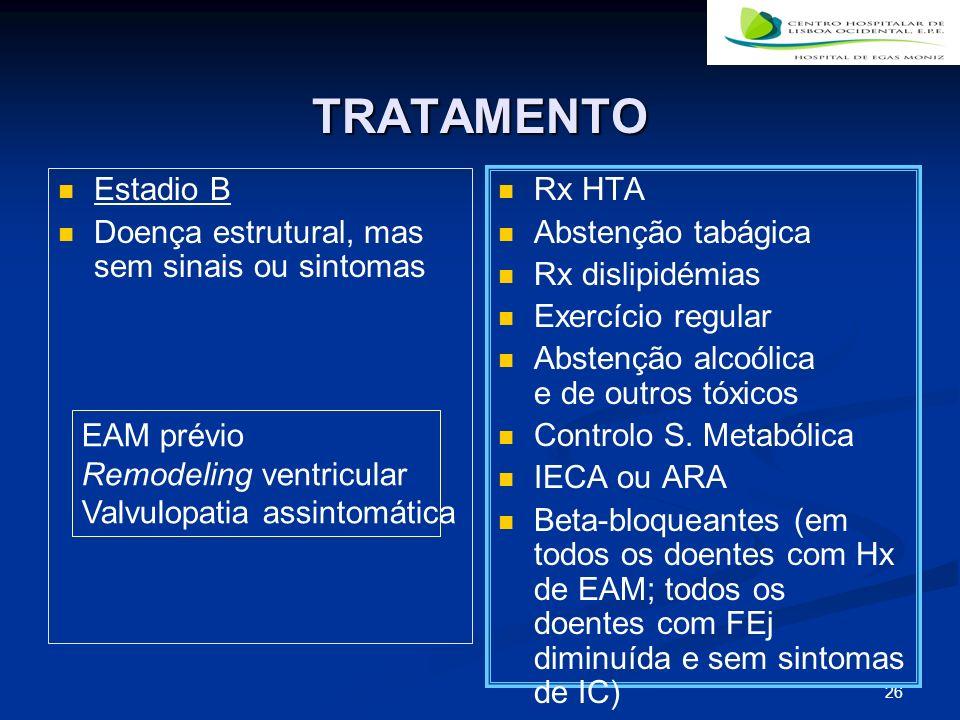 26 TRATAMENTO Estadio B Doença estrutural, mas sem sinais ou sintomas Rx HTA Abstenção tabágica Rx dislipidémias Exercício regular Abstenção alcoólica e de outros tóxicos Controlo S.