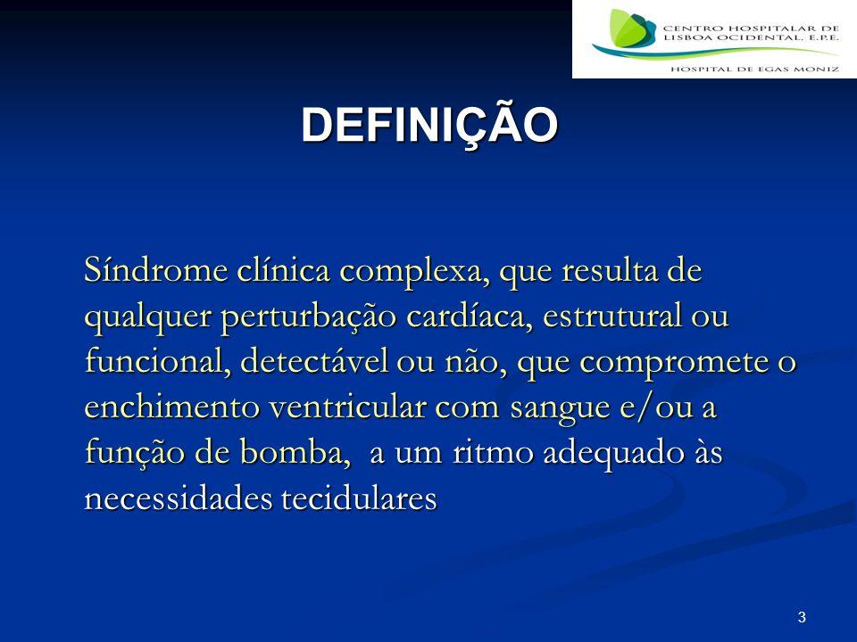 3 DEFINIÇÃO Síndrome clínica complexa, que resulta de qualquer perturbação cardíaca, estrutural ou funcional, detectável ou não, que compromete o enchimento ventricular com sangue e/ou a função de bomba, a um ritmo adequado às necessidades tecidulares
