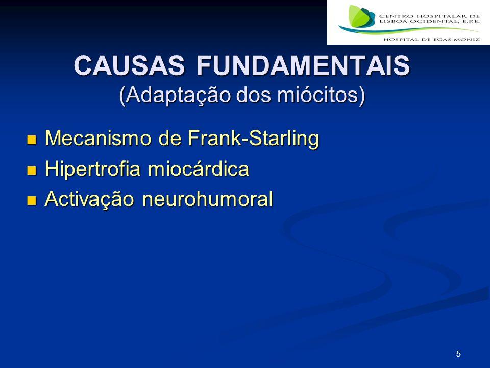 5 CAUSAS FUNDAMENTAIS (Adaptação dos miócitos) Mecanismo de Frank-Starling Mecanismo de Frank-Starling Hipertrofia miocárdica Hipertrofia miocárdica Activação neurohumoral Activação neurohumoral