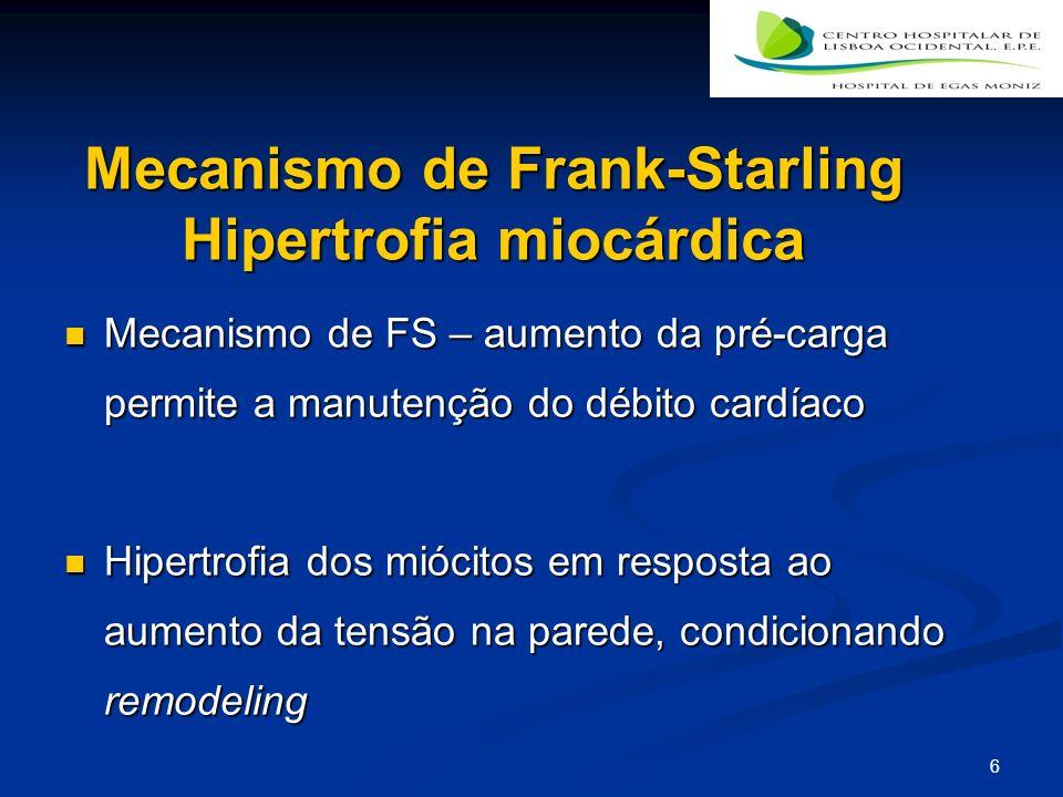 6 Mecanismo de Frank-Starling Hipertrofia miocárdica Mecanismo de FS – aumento da pré-carga permite a manutenção do débito cardíaco Mecanismo de FS – aumento da pré-carga permite a manutenção do débito cardíaco Hipertrofia dos miócitos em resposta ao aumento da tensão na parede, condicionando remodeling Hipertrofia dos miócitos em resposta ao aumento da tensão na parede, condicionando remodeling
