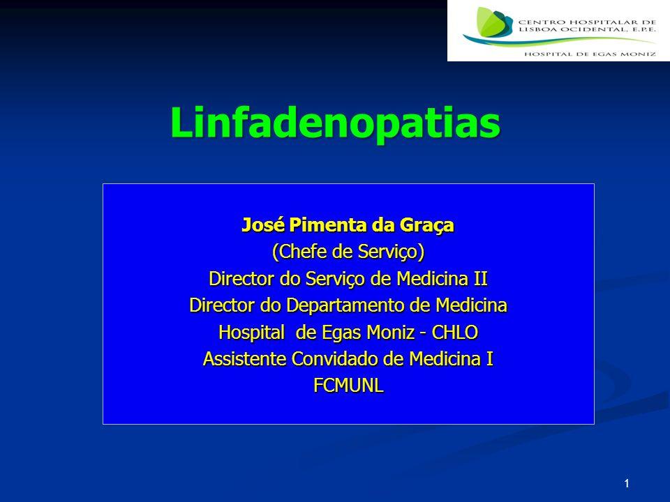 Linfadenopatias José Pimenta da Graça (Chefe de Serviço) Director do Serviço de Medicina II Director do Departamento de Medicina Hospital de Egas Moni