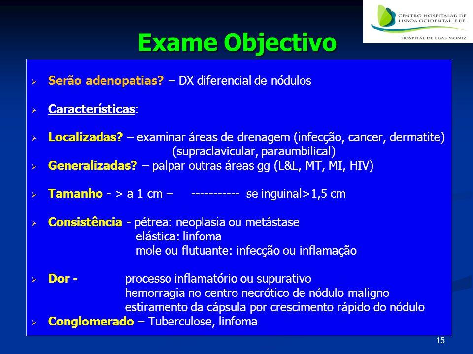 Exame Objectivo Serão adenopatias? – DX diferencial de nódulos Características: Localizadas? – examinar áreas de drenagem (infecção, cancer, dermatite