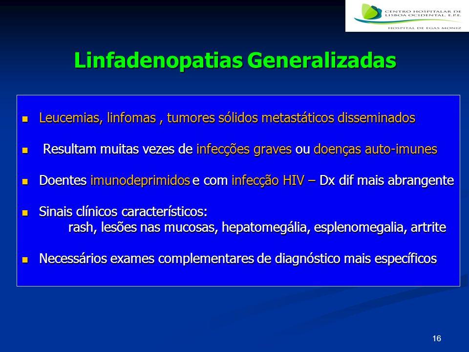 Linfadenopatias Generalizadas Leucemias, linfomas, tumores sólidos metastáticos disseminados Leucemias, linfomas, tumores sólidos metastáticos dissemi