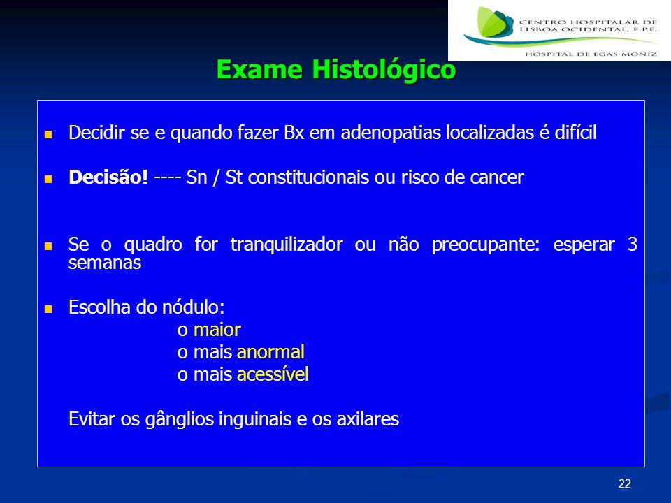 Exame Histológico Decidir se e quando fazer Bx em adenopatias localizadas é difícil Decisão! ---- Sn / St constitucionais ou risco de cancer Se o quad