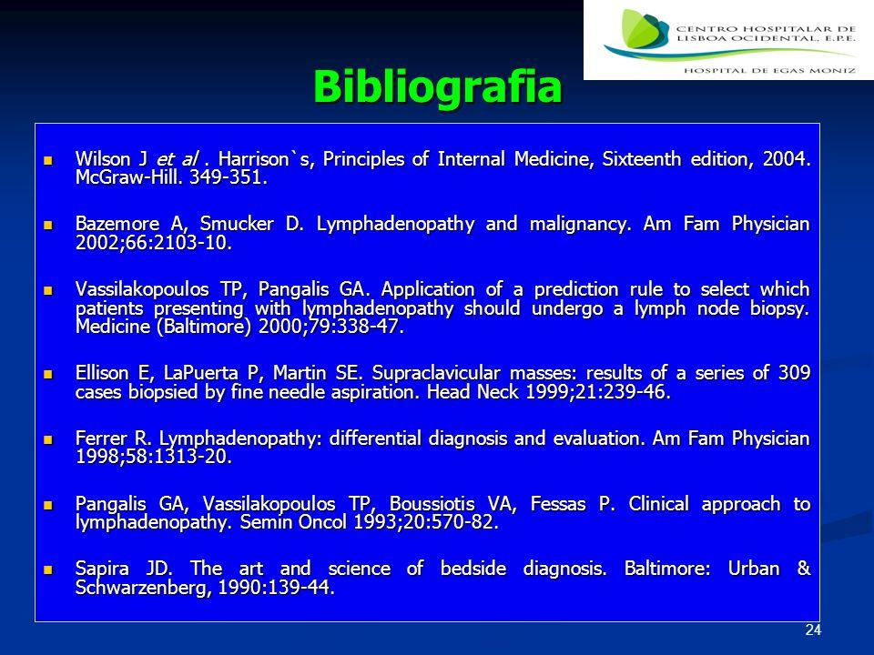 Bibliografia Wilson J et al. Harrison`s, Principles of Internal Medicine, Sixteenth edition, 2004. McGraw-Hill. 349-351. Wilson J et al. Harrison`s, P