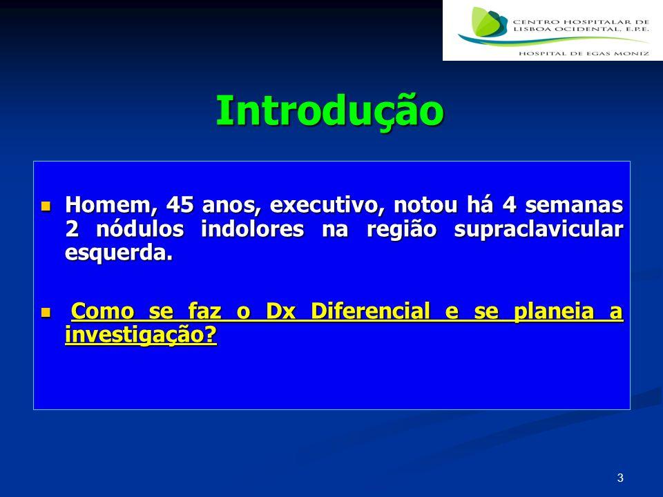 Definição Nódulo(s) ganglionar(es) com invasão, infiltração ou proliferação de células inflamatórias ou neoplásicas Nódulo(s) ganglionar(es) com invasão, infiltração ou proliferação de células inflamatórias ou neoplásicas Tamanho> 1 cm--- se for inguinal>1,5 cm Tamanho> 1 cm--- se for inguinal>1,5 cm Número Número Consistência Consistência 4
