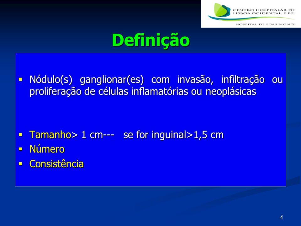 Definição Nódulo(s) ganglionar(es) com invasão, infiltração ou proliferação de células inflamatórias ou neoplásicas Nódulo(s) ganglionar(es) com invas