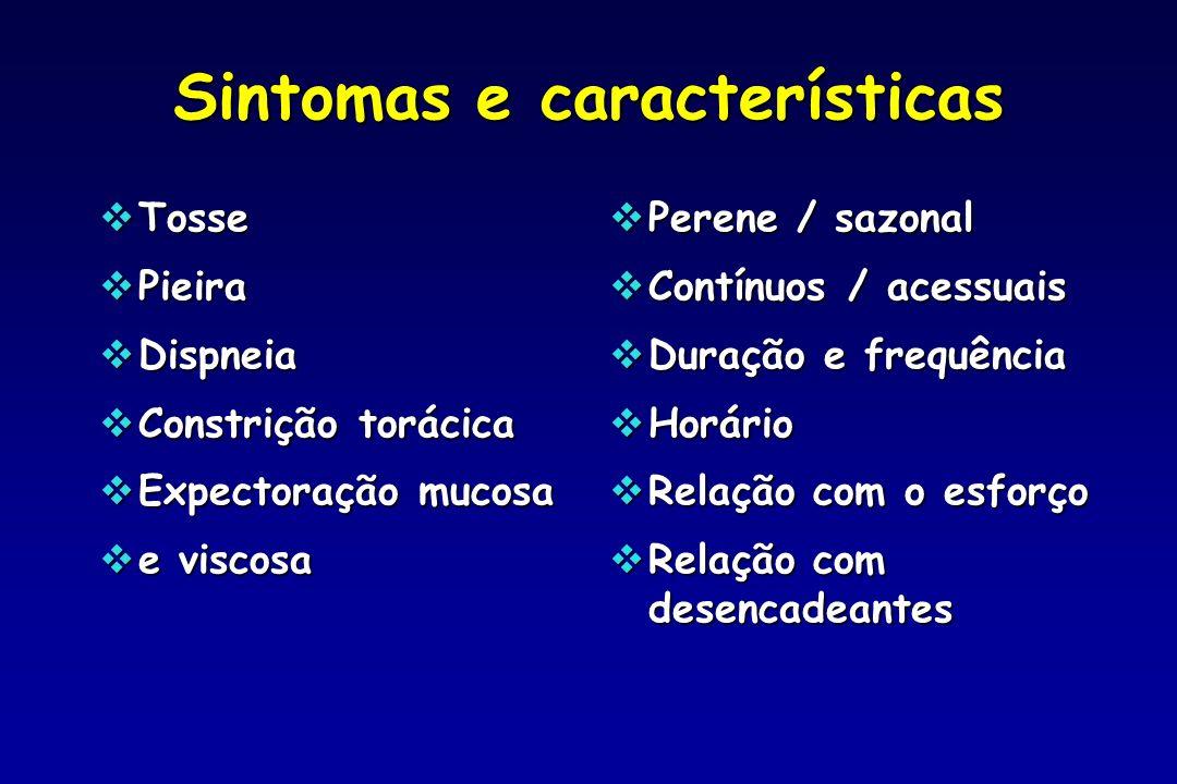 Sintomas e características Tosse Tosse Pieira Pieira Dispneia Dispneia Constrição torácica Constrição torácica Expectoração mucosa Expectoração mucosa