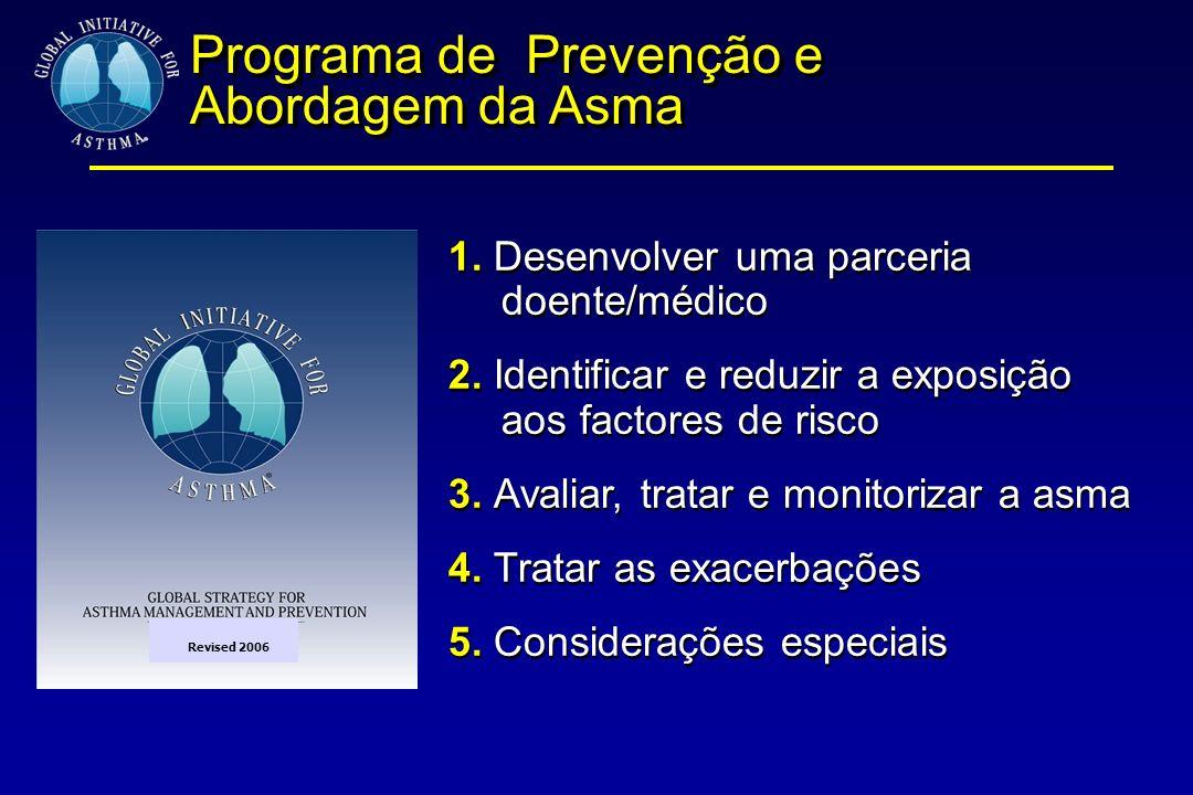 1. Desenvolver uma parceria doente/médico 2. Identificar e reduzir a exposição aos factores de risco 3. Avaliar, tratar e monitorizar a asma 4. Tratar