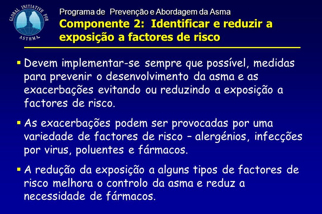 Programa de Prevenção e Abordagem da Asma Componente 2: Identificar e reduzir a exposição a factores de risco Programa de Prevenção e Abordagem da Asm