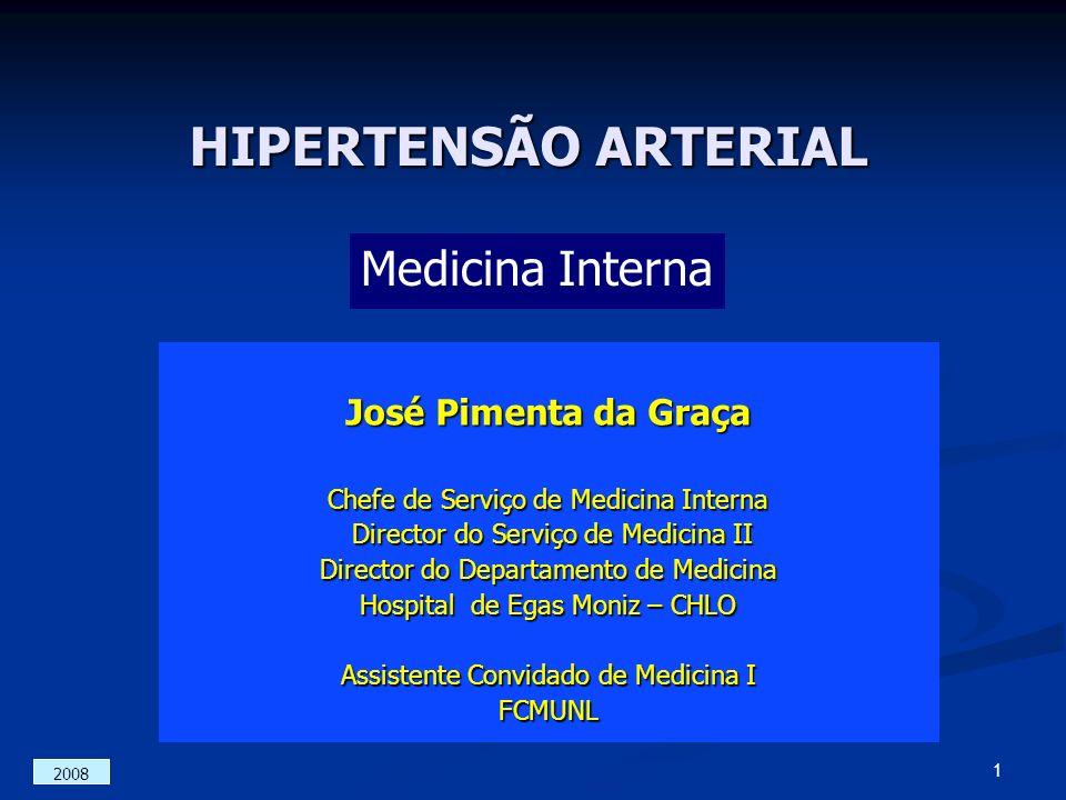 HIPERTENSÃO ARTERIAL José Pimenta da Graça Chefe de Serviço de Medicina Interna Director do Serviço de Medicina II Director do Serviço de Medicina II