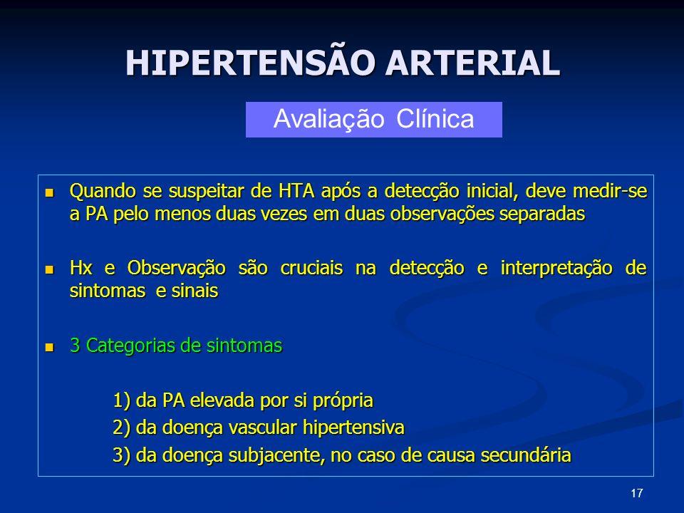 HIPERTENSÃO ARTERIAL Quando se suspeitar de HTA após a detecção inicial, deve medir-se a PA pelo menos duas vezes em duas observações separadas Quando