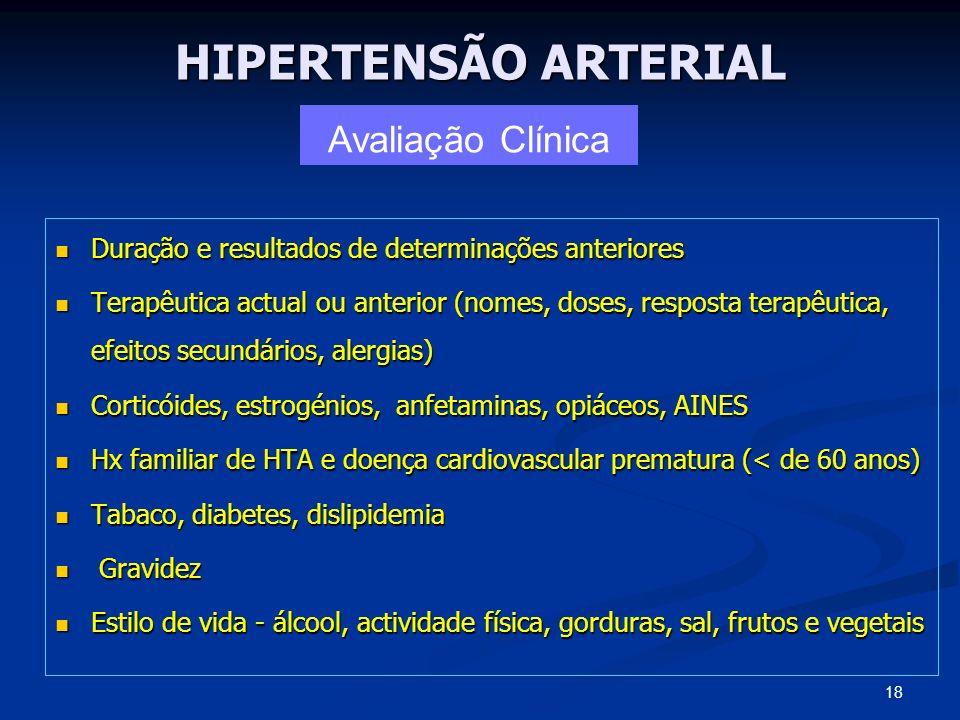 HIPERTENSÃO ARTERIAL Duração e resultados de determinações anteriores Duração e resultados de determinações anteriores Terapêutica actual ou anterior