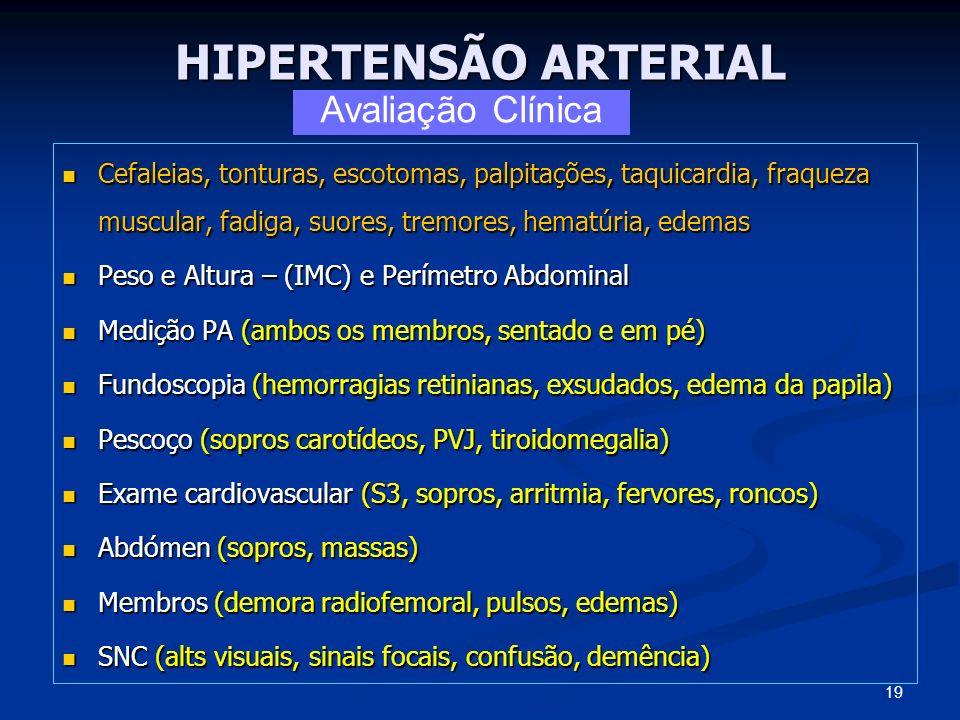 HIPERTENSÃO ARTERIAL Cefaleias, tonturas, escotomas, palpitações, taquicardia, fraqueza muscular, fadiga, suores, tremores, hematúria, edemas Cefaleia