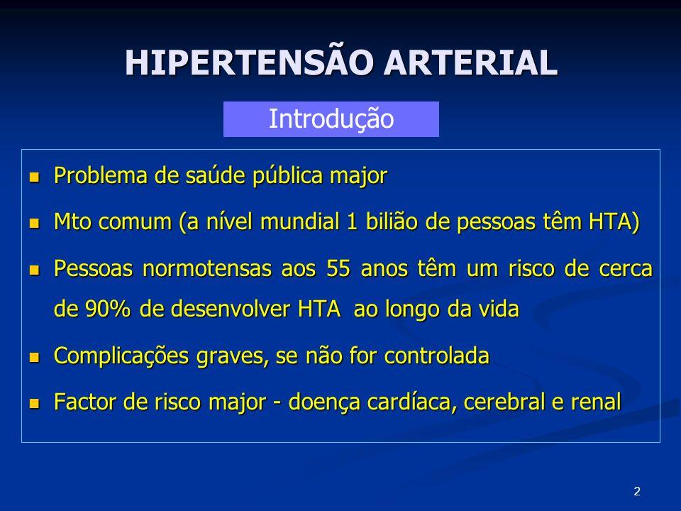 HIPERTENSÃO ARTERIAL Raça negra Raça negra Jovem Jovem Sexo masculino Sexo masculino HTA maligna ou em fase acelerada HTA maligna ou em fase acelerada Evidência de lesão de orgão alvo Evidência de lesão de orgão alvo PAD persistente >115 mm Hg PAD persistente >115 mm Hg Tabagismo Tabagismo Diabetes mellitus Diabetes mellitus Hipercolesterolemia Hipercolesterolemia Obesidade Obesidade Excesso ingestão alcoólica Excesso ingestão alcoólica História familiar de morte prematura por DCV História familiar de morte prematura por DCV 23 Doente de alto risco