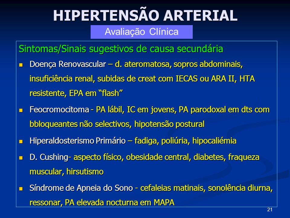 HIPERTENSÃO ARTERIAL Sintomas/Sinais sugestivos de causa secundária Doença Renovascular – d. ateromatosa, sopros abdominais, insuficiência renal, subi