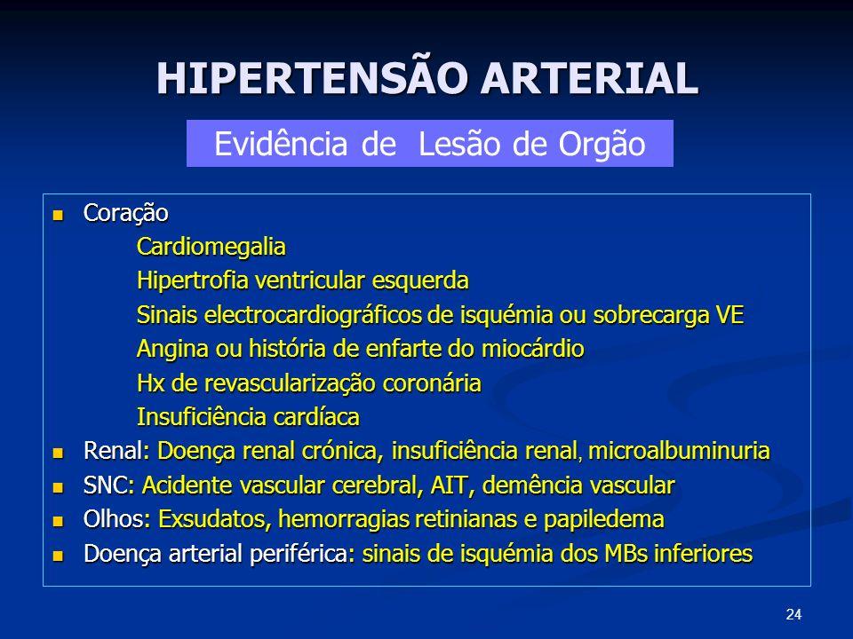 HIPERTENSÃO ARTERIAL Coração CoraçãoCardiomegalia Hipertrofia ventricular esquerda Sinais electrocardiográficos de isquémia ou sobrecarga VE Angina ou