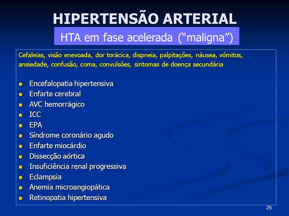 HIPERTENSÃO ARTERIAL Cefaleias, visão enevoada, dor torácica, dispneia, palpitações, náusea, vómitos, ansiedade, confusão, coma, convulsões, sintomas