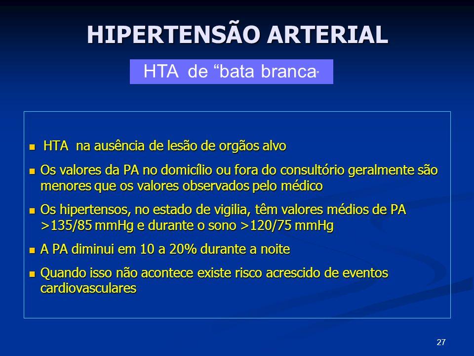HIPERTENSÃO ARTERIAL HTA na ausência de lesão de orgãos alvo HTA na ausência de lesão de orgãos alvo Os valores da PA no domicílio ou fora do consultó
