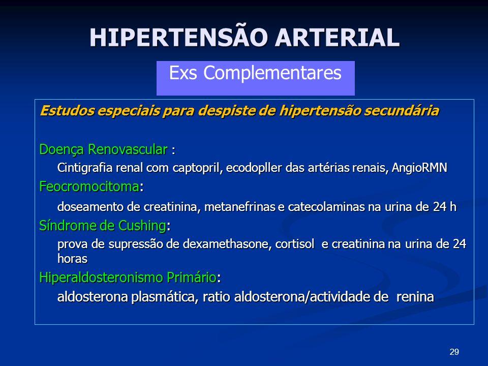 HIPERTENSÃO ARTERIAL Estudos especiais para despiste de hipertensão secundária Doença Renovascular : Cintigrafia renal com captopril, ecodopller das a