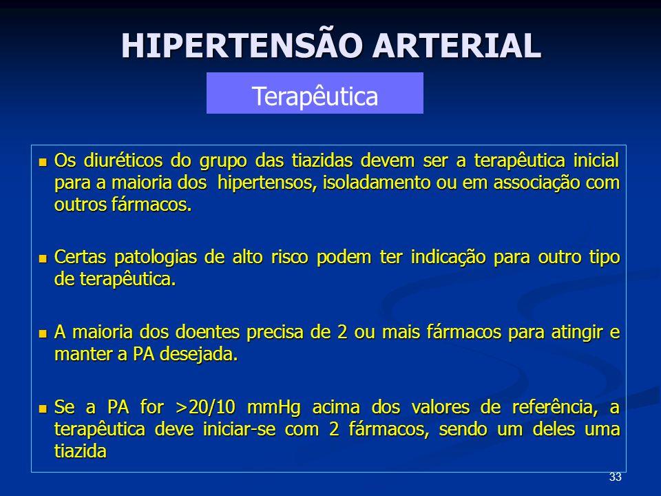 HIPERTENSÃO ARTERIAL Os diuréticos do grupo das tiazidas devem ser a terapêutica inicial para a maioria dos hipertensos, isoladamento ou em associação