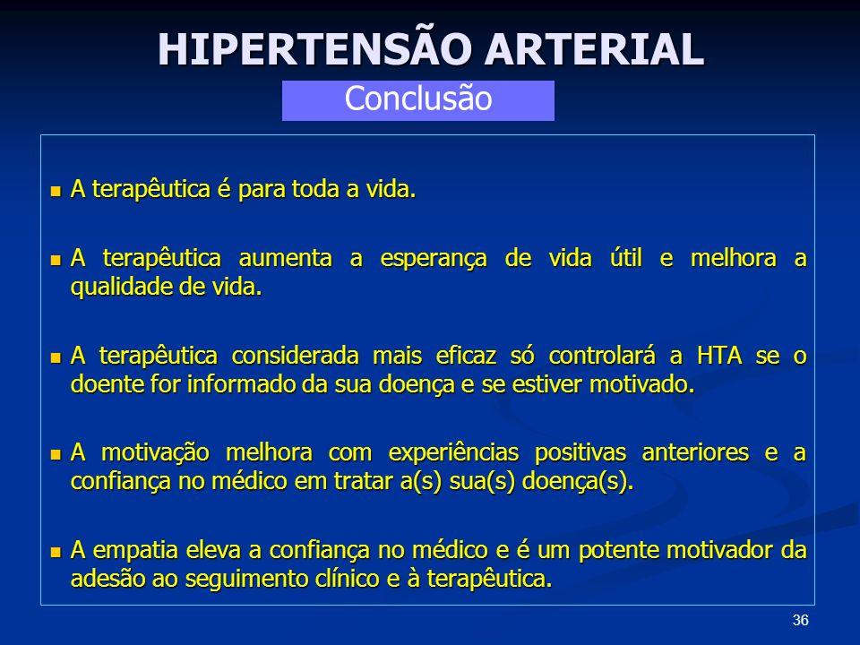 HIPERTENSÃO ARTERIAL A terapêutica é para toda a vida. A terapêutica é para toda a vida. A terapêutica aumenta a esperança de vida útil e melhora a qu
