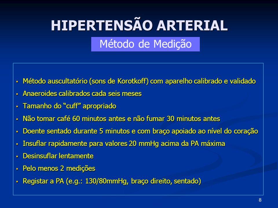HIPERTENSÃO ARTERIAL Cefaleias, tonturas, escotomas, palpitações, taquicardia, fraqueza muscular, fadiga, suores, tremores, hematúria, edemas Cefaleias, tonturas, escotomas, palpitações, taquicardia, fraqueza muscular, fadiga, suores, tremores, hematúria, edemas Peso e Altura – (IMC) e Perímetro Abdominal Peso e Altura – (IMC) e Perímetro Abdominal Medição PA (ambos os membros, sentado e em pé) Medição PA (ambos os membros, sentado e em pé) Fundoscopia (hemorragias retinianas, exsudados, edema da papila) Fundoscopia (hemorragias retinianas, exsudados, edema da papila) Pescoço (sopros carotídeos, PVJ, tiroidomegalia) Pescoço (sopros carotídeos, PVJ, tiroidomegalia) Exame cardiovascular (S3, sopros, arritmia, fervores, roncos) Exame cardiovascular (S3, sopros, arritmia, fervores, roncos) Abdómen (sopros, massas) Abdómen (sopros, massas) Membros (demora radiofemoral, pulsos, edemas) Membros (demora radiofemoral, pulsos, edemas) SNC (alts visuais, sinais focais, confusão, demência) SNC (alts visuais, sinais focais, confusão, demência) Avaliação Clínica 19