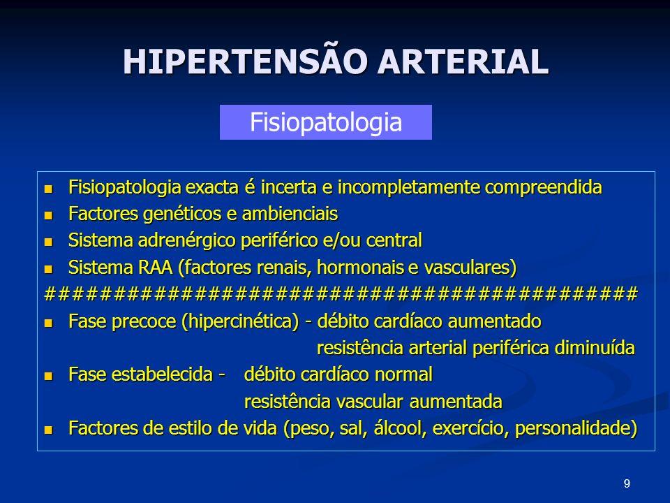 HIPERTENSÃO ARTERIAL Objectivos Principais Redução da mortalidade e morbilidade vascular Redução da mortalidade e morbilidade vascular (cardio, cerebral e renal) Atingir valores de PA <140/90 mmHg ou PA <130/80 mmHg nos doentes com diabetes, insuficiência renal, angina instável/enfarte agudo miocárdio ou insuficiência cardíaca (JNC VII; AHA 2007) Atingir valores de PA <140/90 mmHg ou PA <130/80 mmHg nos doentes com diabetes, insuficiência renal, angina instável/enfarte agudo miocárdio ou insuficiência cardíaca (JNC VII; AHA 2007) Importante atingir o valor alvo de PAS, principalmente em pessoas com mais de 50 anos Importante atingir o valor alvo de PAS, principalmente em pessoas com mais de 50 anos Conceito de HTA refractária ou resistente Conceito de HTA refractária ou resistente 30 Terapêutica