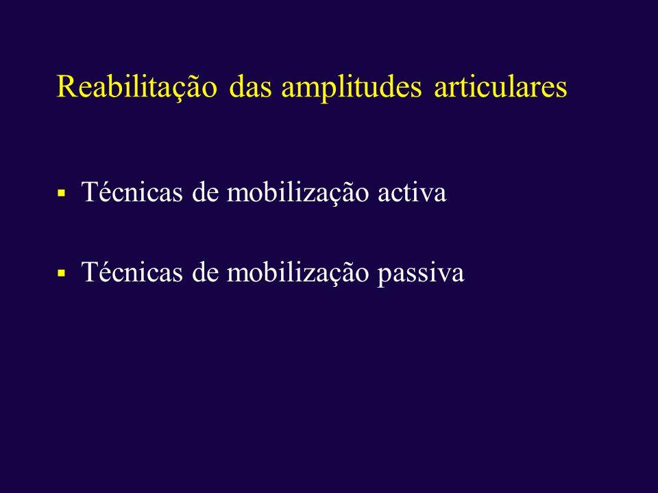 Reabilitação das amplitudes articulares Técnicas de mobilização activa Técnicas de mobilização passiva