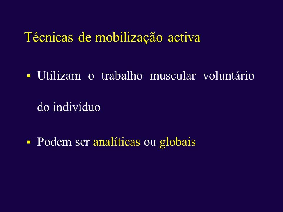Técnicas de mobilização activa Utilizam o trabalho muscular voluntário do indivíduo Podem ser analíticas ou globais