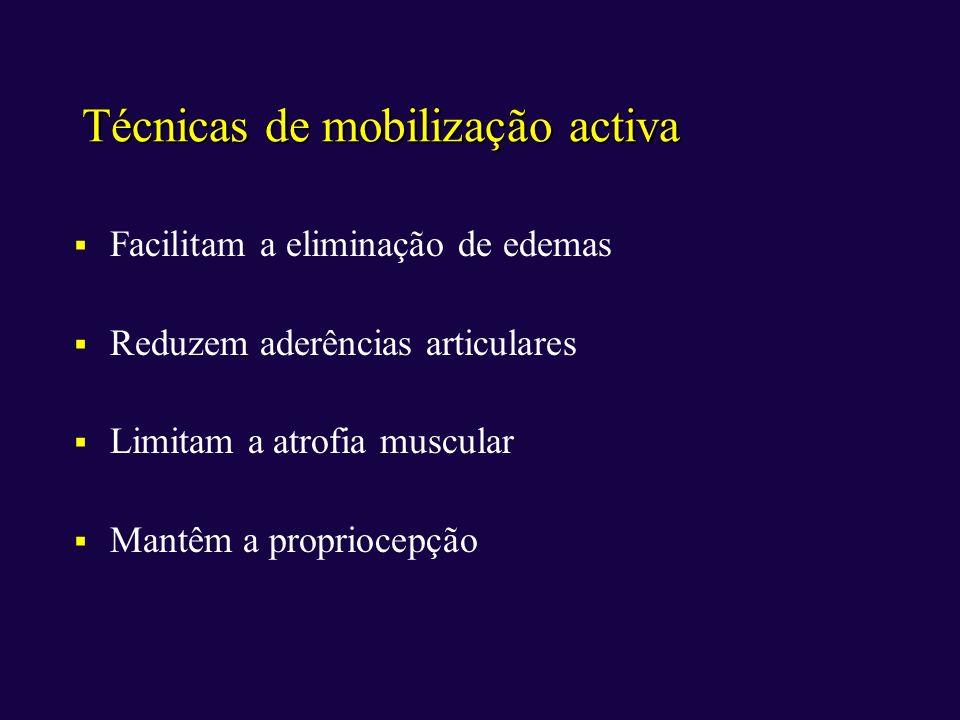Técnicas de mobilização activa Facilitam a eliminação de edemas Reduzem aderências articulares Limitam a atrofia muscular Mantêm a propriocepção