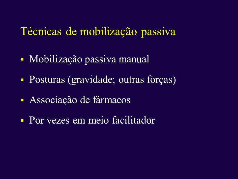 Técnicas de mobilização passiva Mobilização passiva manual Posturas (gravidade; outras forças) Associação de fármacos Por vezes em meio facilitador
