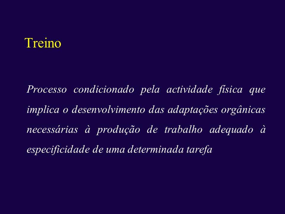 Treino Processo condicionado pela actividade física que implica o desenvolvimento das adaptações orgânicas necessárias à produção de trabalho adequado
