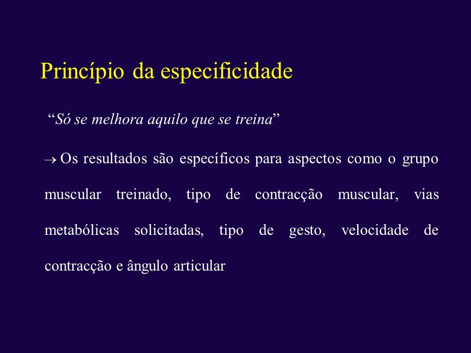 Princípio da especificidade Só se melhora aquilo que se treina Os resultados são específicos para aspectos como o grupo muscular treinado, tipo de con