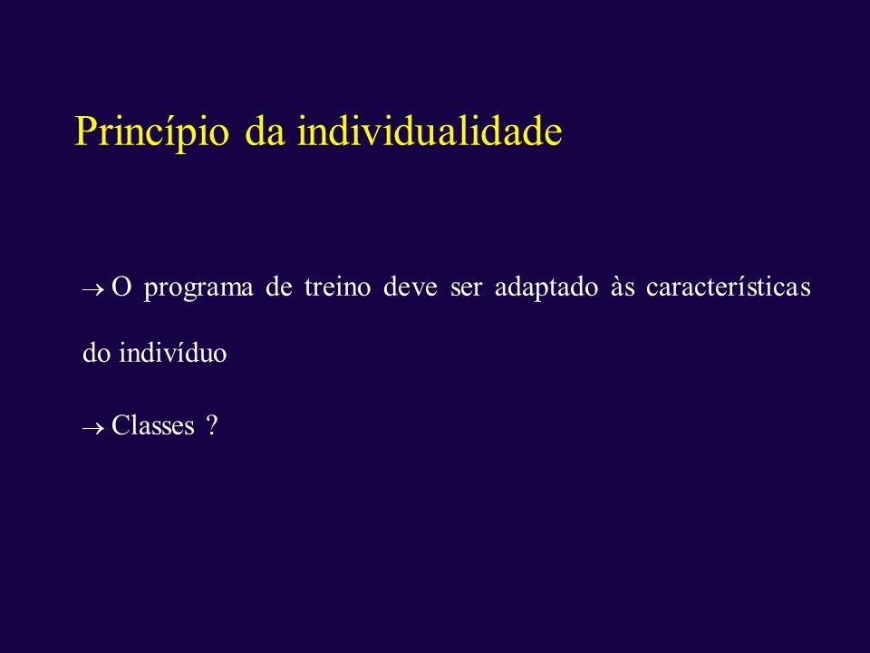 Princípio da individualidade O programa de treino deve ser adaptado às características do indivíduo Classes ?