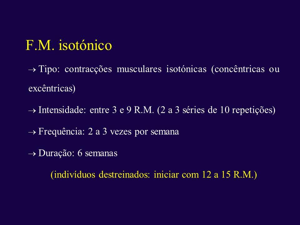 F.M. isotónico Tipo: contracções musculares isotónicas (concêntricas ou excêntricas) Intensidade: entre 3 e 9 R.M. (2 a 3 séries de 10 repetições) Fre